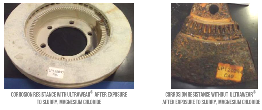 Ultrawear result on a brake rotor vs corrosion on nontreated brake rotor